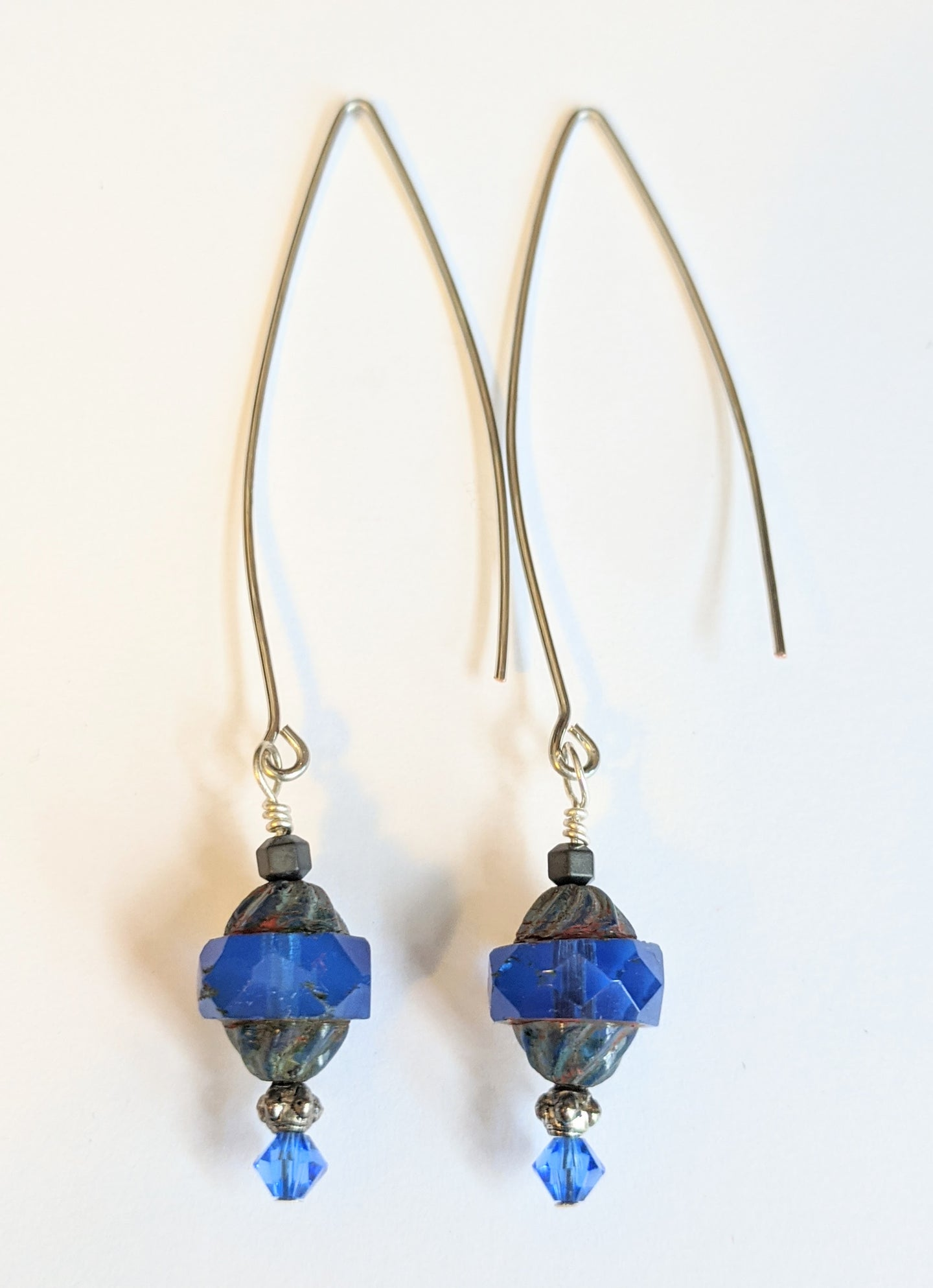 dark periwinkle czech glass earrings - sunroot studio