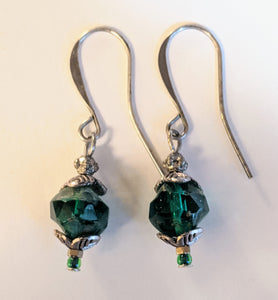 Emerald Green Czech Glass Earrings - Sunroot Studio