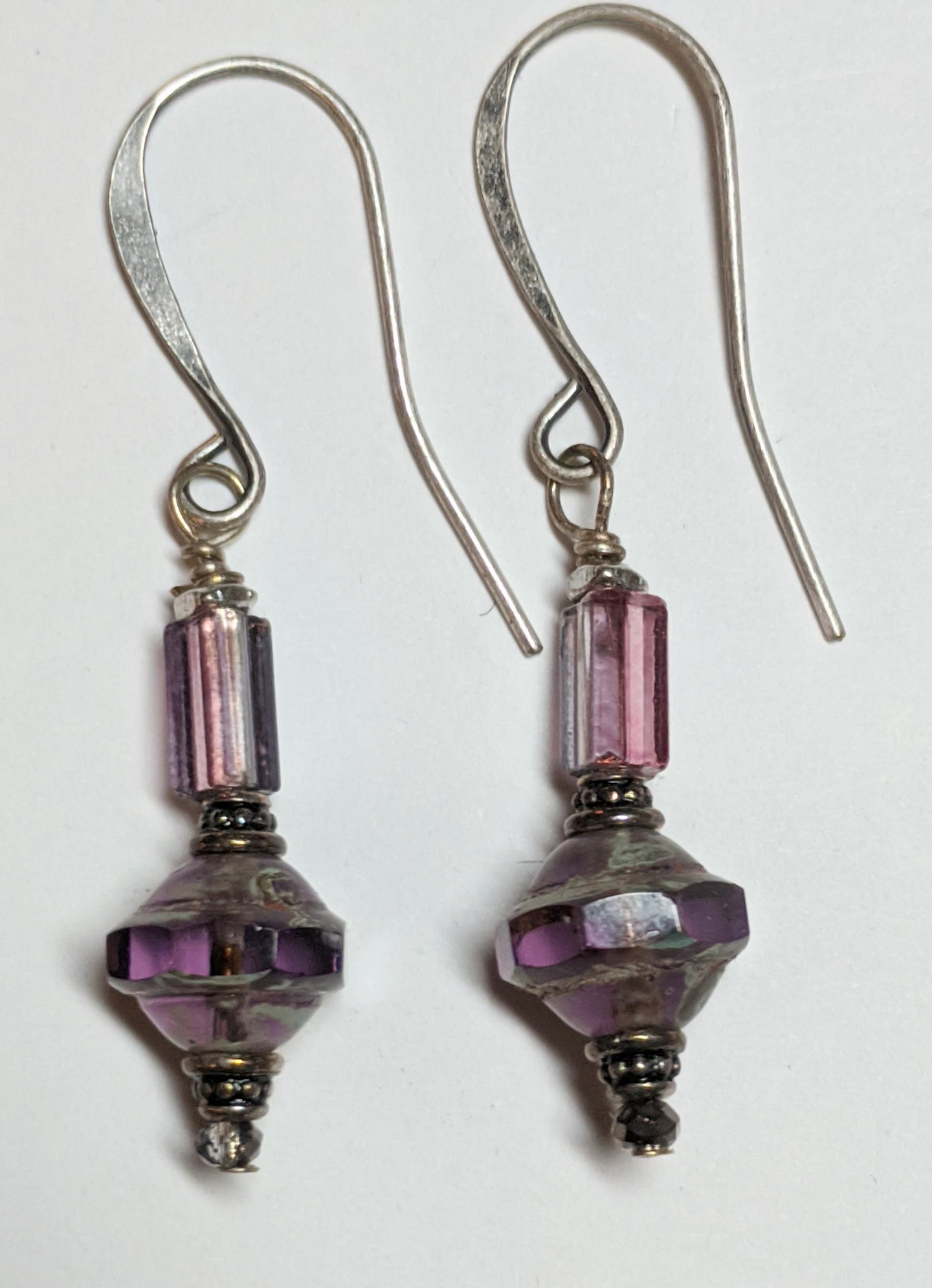 faceted purple czech glass earrings - sunroot studio