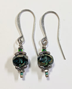 Forest Green Czech Glass Earrings #1 - Sunroot Studio