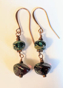 Forest Green & Garnet Glass Earrings - Sunroot Studio