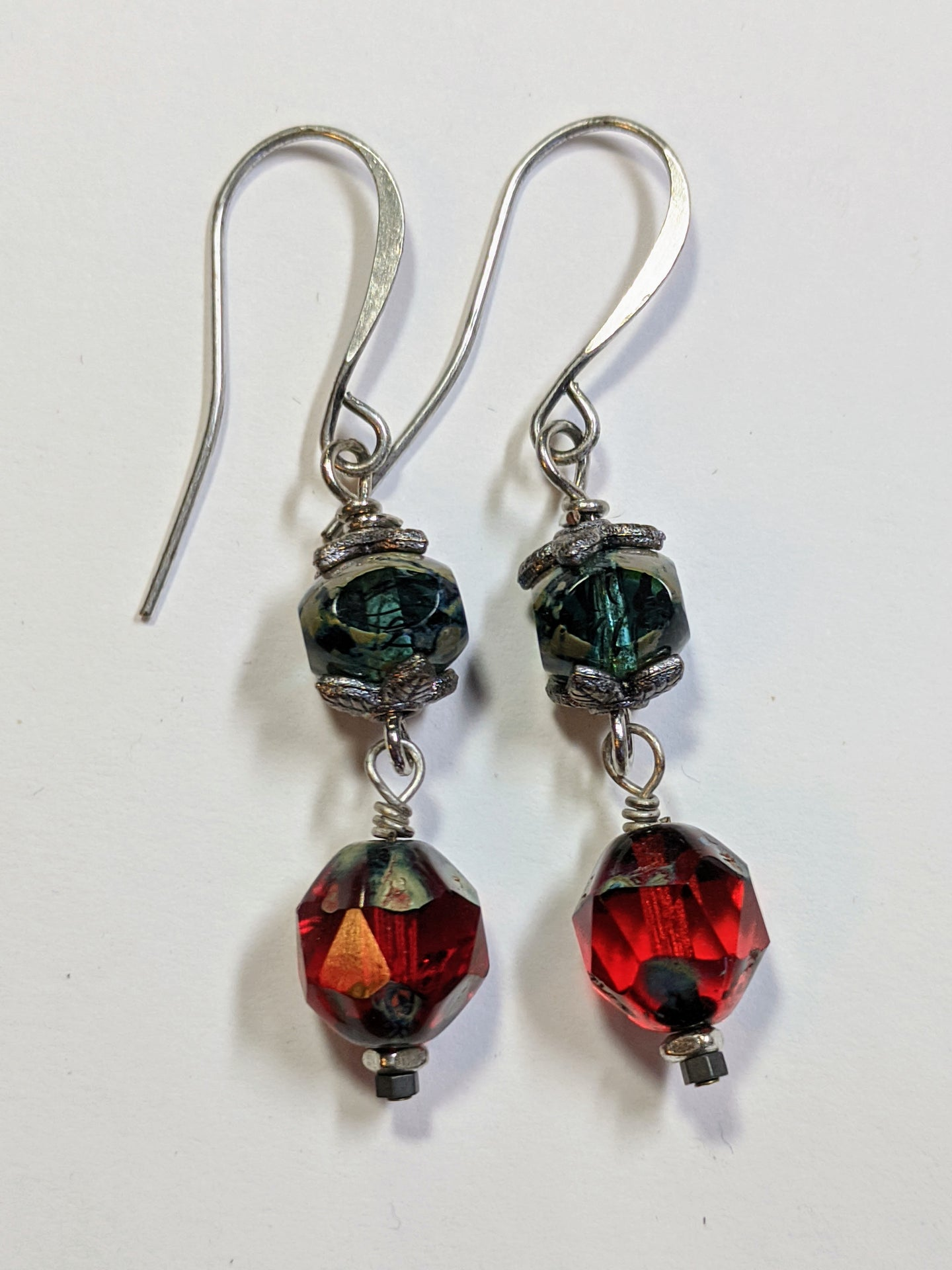 red czech glass earrings - sunroot studio