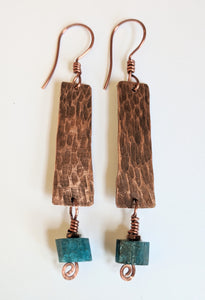 Hammered Copper & Apatite Earrings