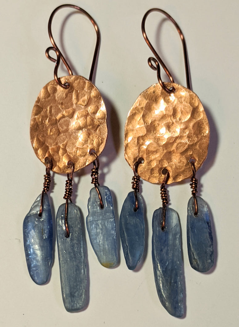 Hammered Copper & Kyanite Earrings - Sunroot Studio