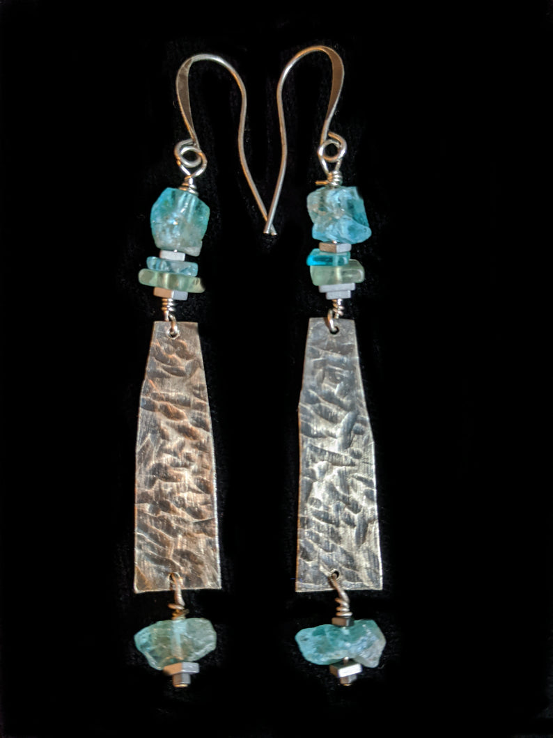 Nickel Silver & Apatite Earrings
