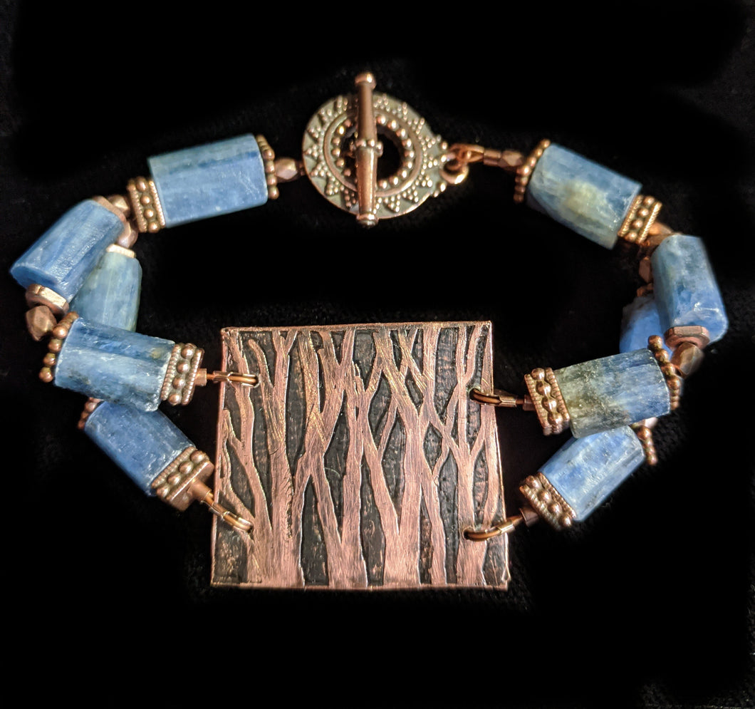 Art and Metal Jewelry - Copper Trees & Kyanite Bracelet - Sunroot Studio