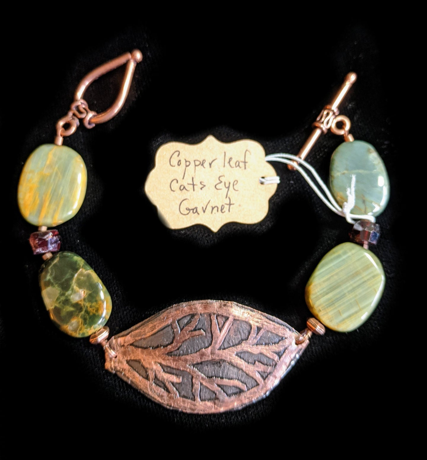 Art and Metal Jewelry - Copper Leaf & Cats Eye Bracelet - Sunroot Studio