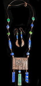Art and Metal Jewelry - Copper Man in the Moon Necklace Set - Sunroot Studio