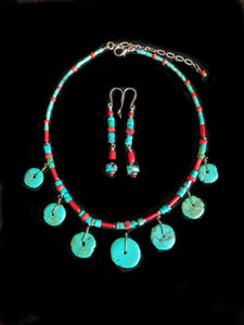 Tribal Turquoise & Coral Set - Sunroot Studio