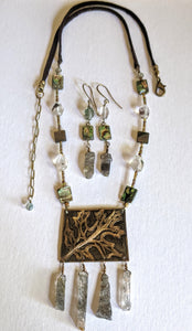 Art and Metal Jewelry - Oak Leaf & Quartz Necklace Set - Sunroot Studio