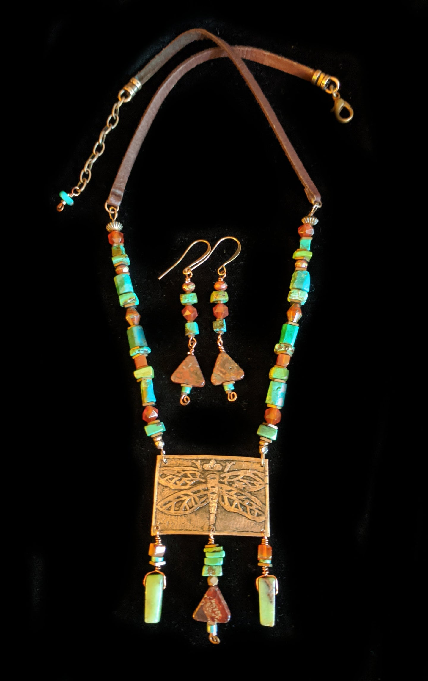 Art and Metal Jewelry - Copper Dragonfly Necklace Set - Sunroot Studio