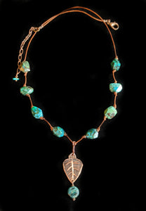 Art and Metal Jewelry - Copper Leaf & Chrysocolla Necklace - Sunroot Studio