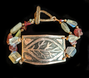 Copper Leaf & Garnet Bracelet - Sunroot Studio