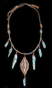 Art and Metal Jewelry - Copper Leaf & Kyanite Necklace - Sunroot Studio