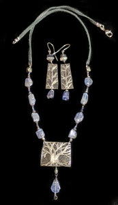 Nickel Silver Art and Metal Jewelry - Tree Set with Tanzanite Necklace Set - Sunroot Studio