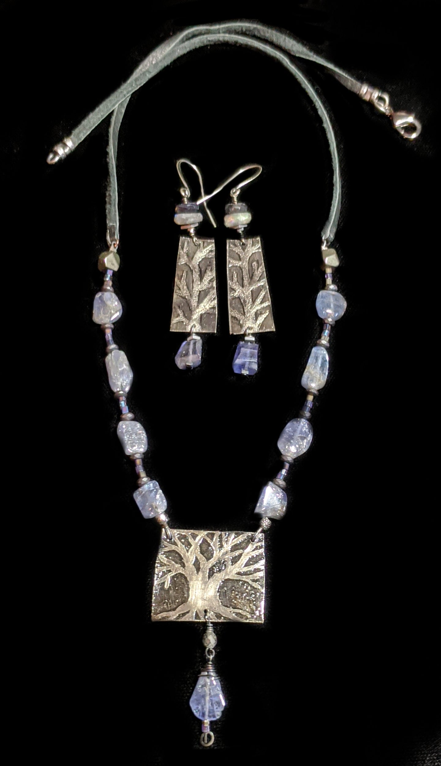 nickel silver  tree set with tanzanite necklace set - sunroot studio