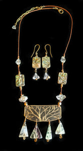 Art and Metal Jewelry - Brass Tree Branches Necklace Set - Sunroot Studio