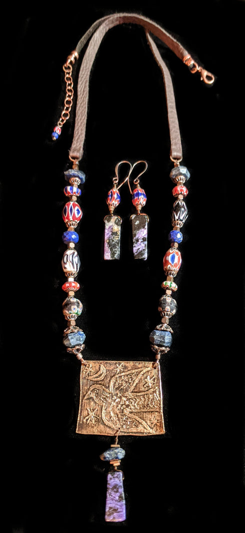 Art and Metal Jewelry - Bronze Folk Bird Necklace Set - Sunroot Studio