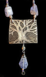 Nickel Silver Tree Set with Tanzanite - Sunroot Studio