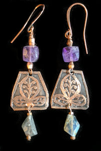 Copper and Amethyst Botanical Set - Sunroot Studio