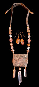 Art and Metal Jewelry - Copper Deer & Moon Necklace Set- Sunroot Studio