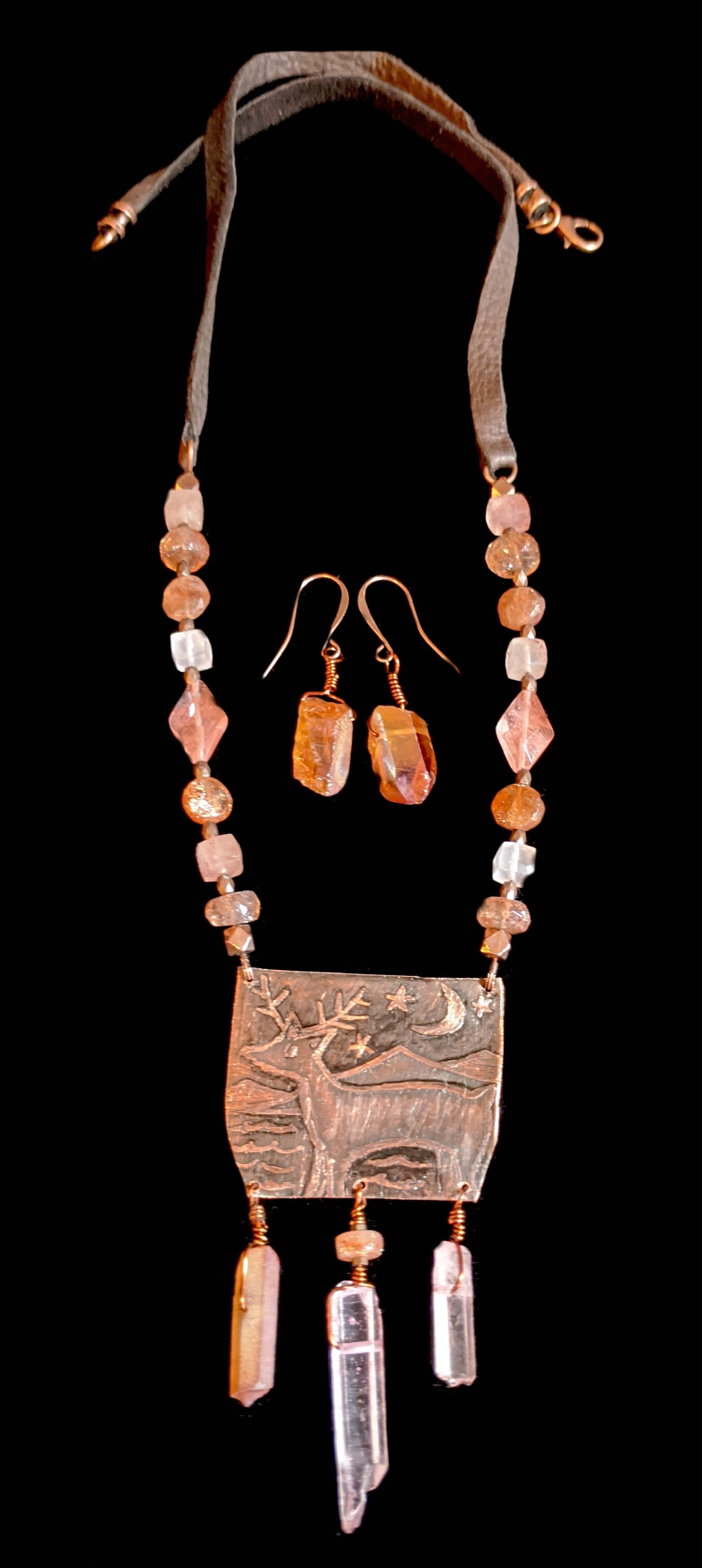 copper deer & moon necklace set- sunroot studio