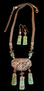 Art and Metal Jewelry - Copper Roots Necklace Set - Sunroot Studio