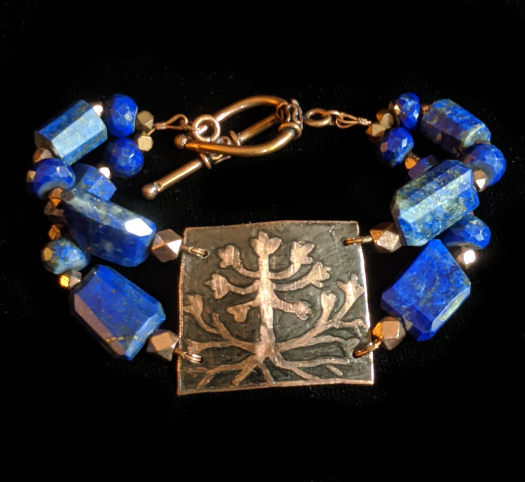 Copper & Lapis Bracelet - Sunroot Studio