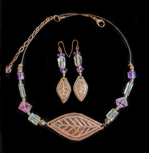 Art and Metal Jewelry - Copper Leaf & Amethyst Necklace Set - Sunroot Studio
