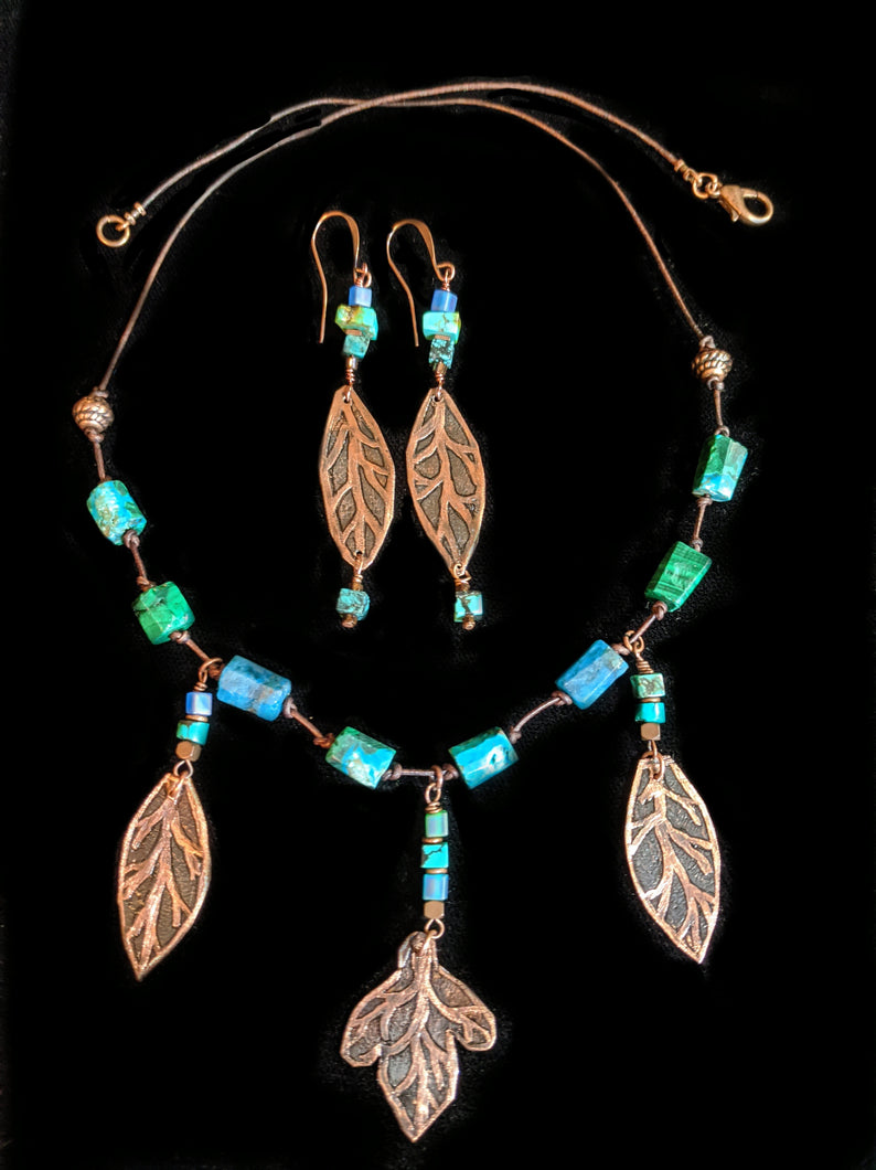 Art and Metal Jewelry - Copper Leaves Necklace Set - Sunroot Studio