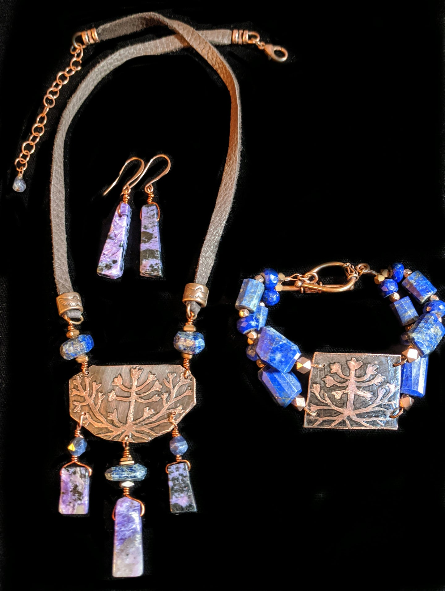 copper botanical & charoite necklace set - sunroot studio