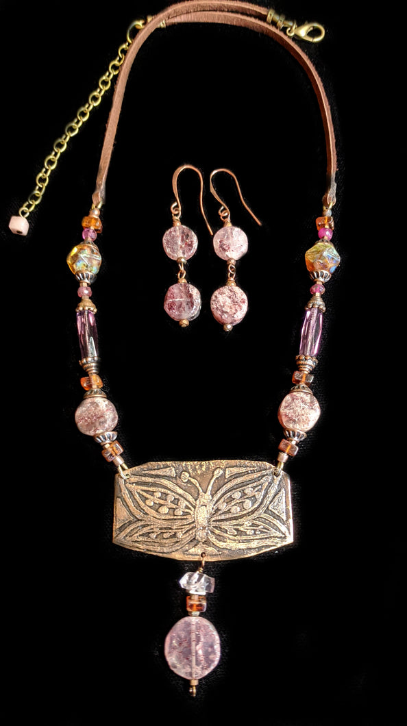 Art and Metal Jewelry - Bronze Butterfly Necklace Set - Sunroot Studio
