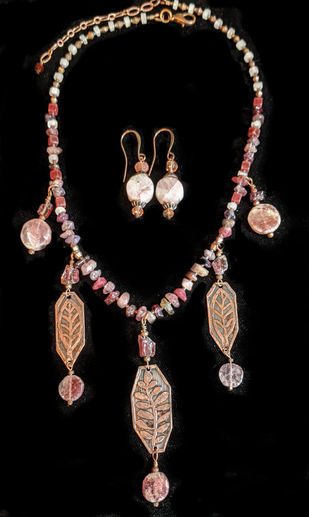 Art and Metal Jewelry - Copper Botanical and Mixed Stones Necklace Set - Sunroot Studio