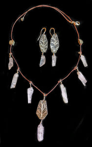Art and Metal Jewelry - Nickel Silver & Kunzite Tree Necklace Set - Sunroot Studio