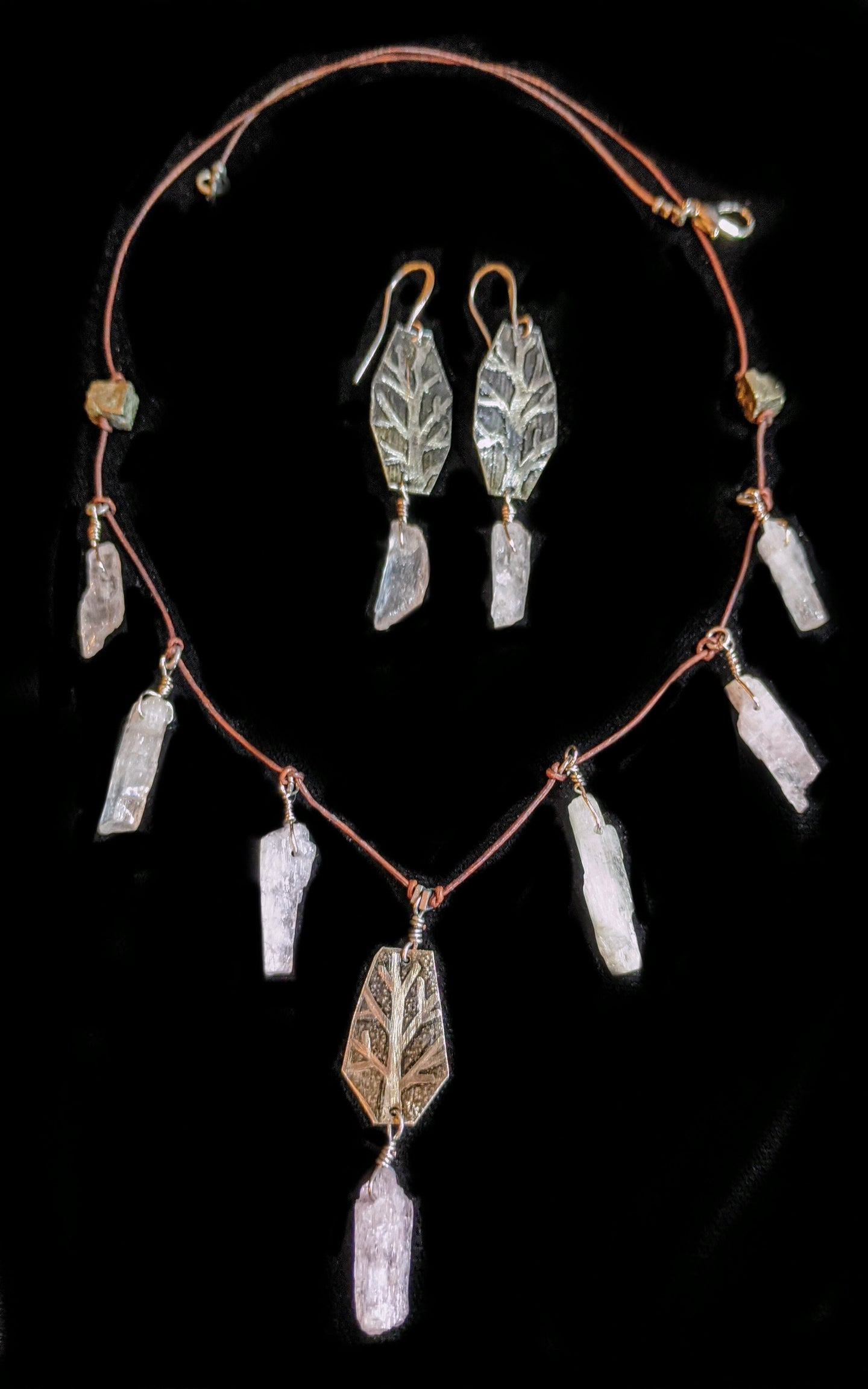 nickel silver & kunzite tree necklace set - sunroot studio