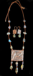 Art and Metal Jewelry - Copper Botanical Necklace Set - Sunroot Studio