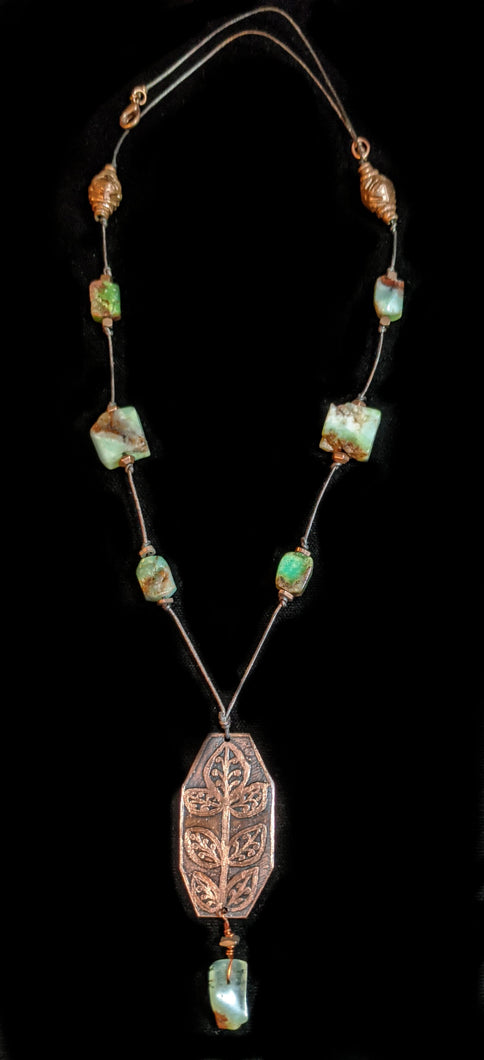 Copper & Art and Metal Jewelry - Chrysoprase Botanical Necklace Set - Sunroot Studio