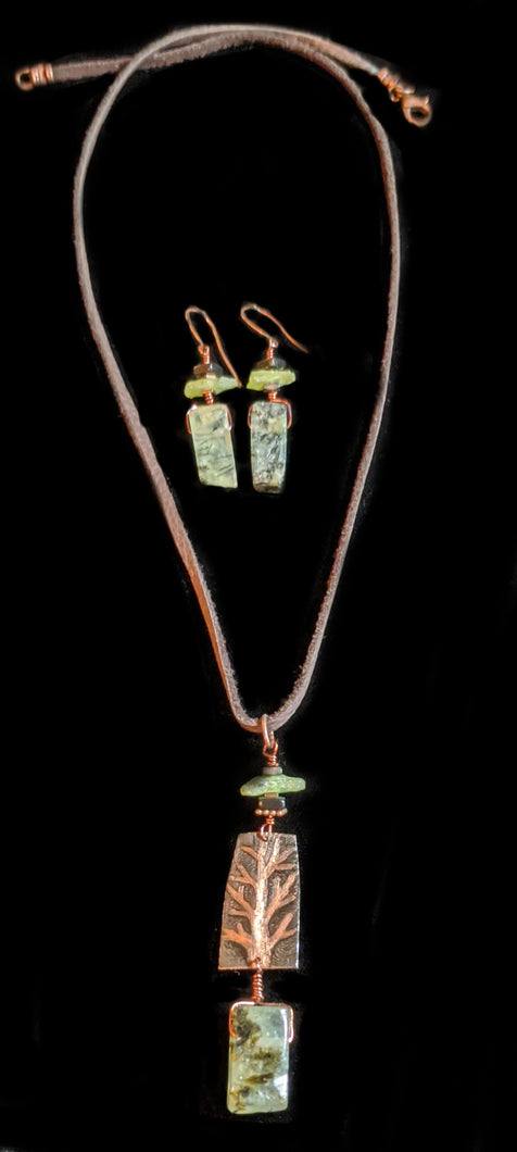 Art and Metal Jewelry - Copper Tree & Prehnite  Necklace Set- Sunroot Studio
