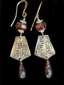 Nickel Silver Tree & Garnet Set - Sunroot Studio