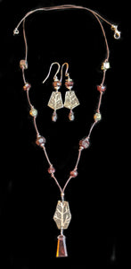 Art and Metal Jewelry - Nickel Silver Tree & Garnet Necklace Set - Sunroot Studio