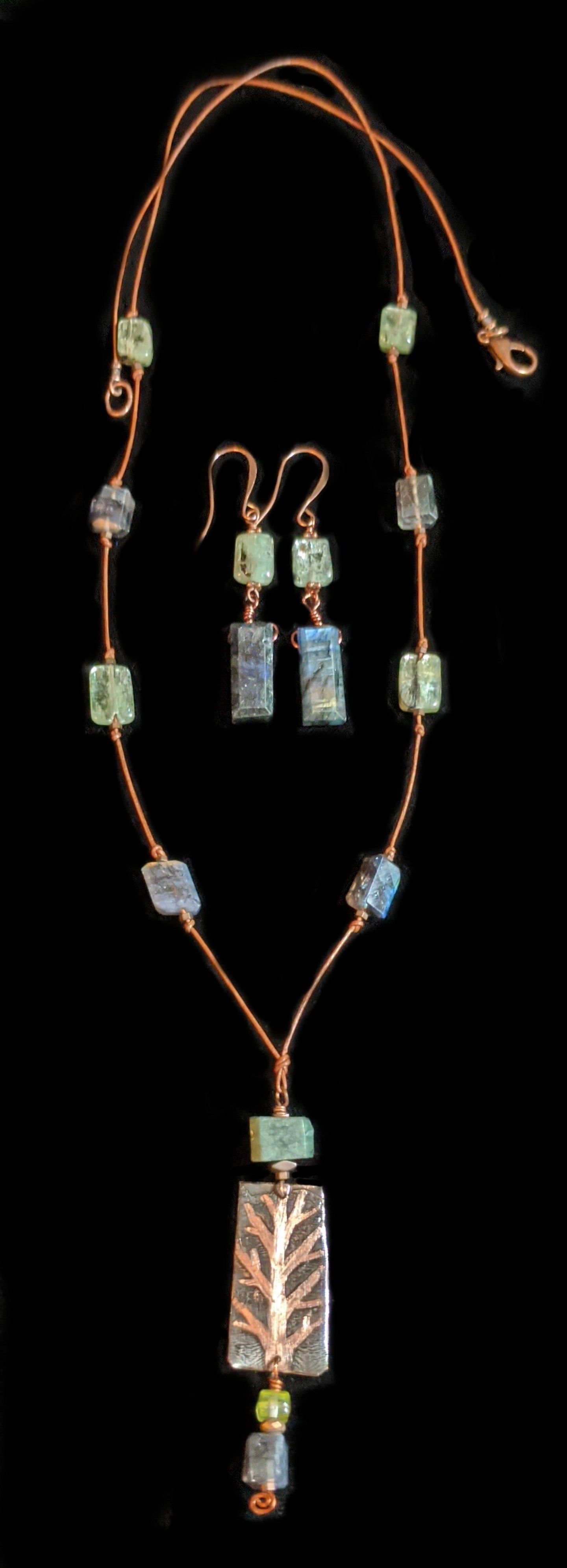 copper  tree & labradorite necklace set - sunroot studio