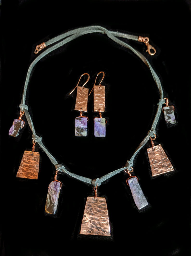 Tribal Copper & Charoite Set - Sunroot Studio