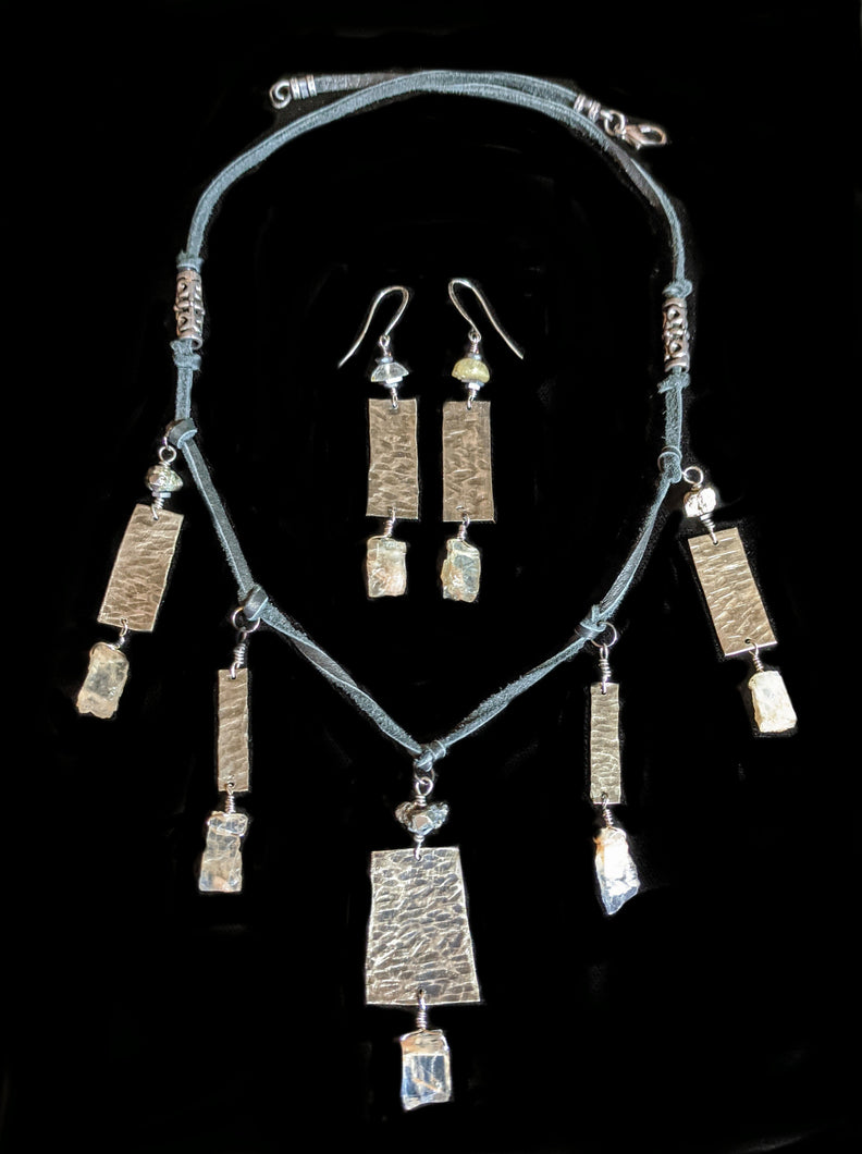 Tribal Nickel Silver & Moonstone Set - Sunroot Studio