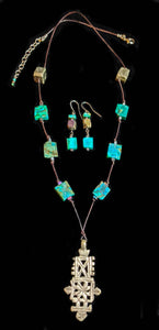 Ethiopian Cross & Chrysocolla Set - Sunroot Studio