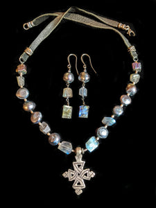 Ethiopian Cross Set with Pearls & Labradorite - Sunroot Studio