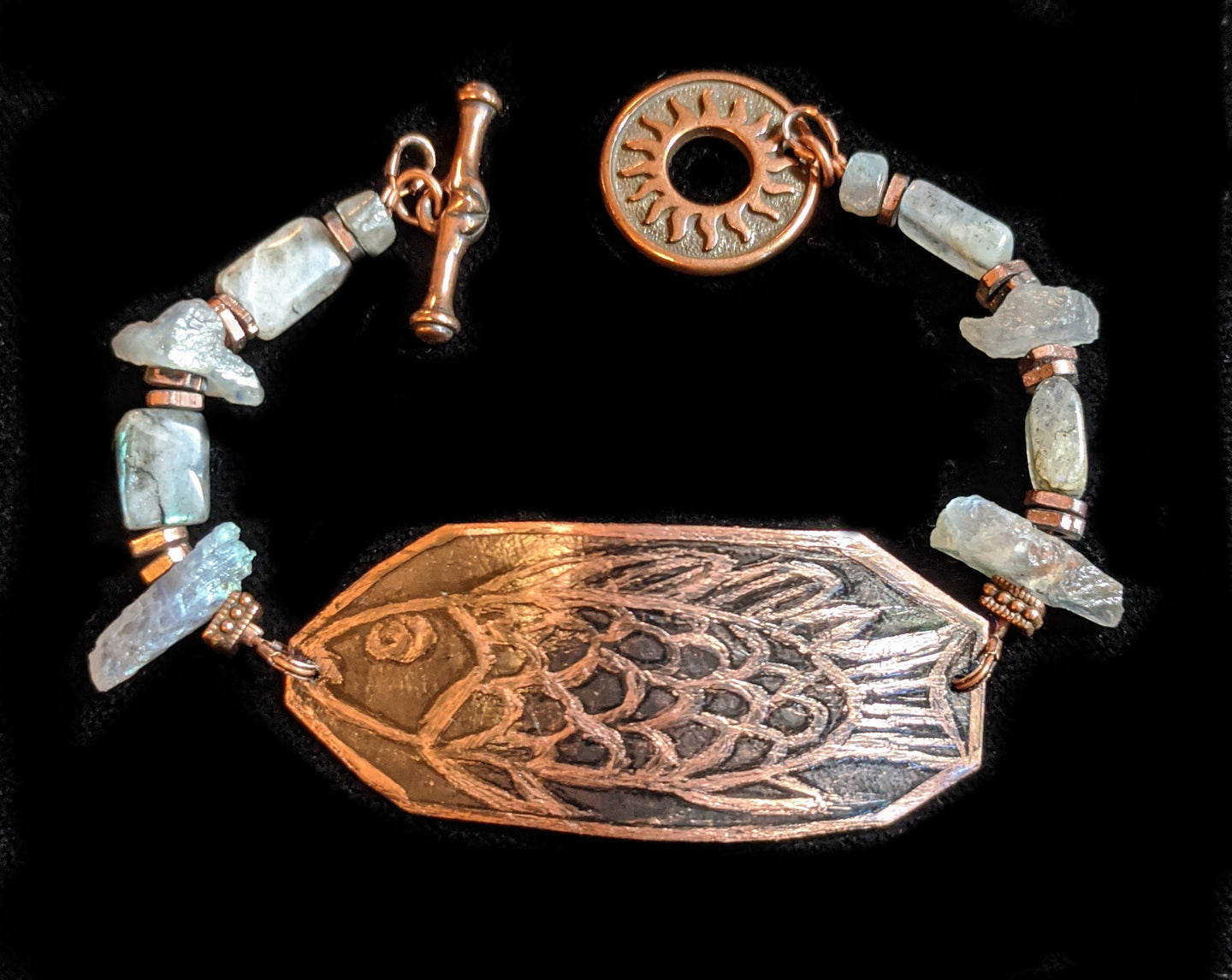Art and Metal Jewelry - Copper Fish Bracelet - Sunroot Studio