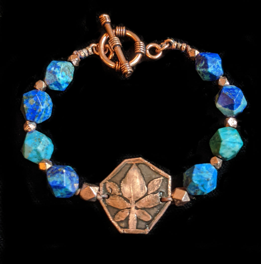 Art and Metal Jewelry - Copper Lotus & Azurite Bracelet - Sunroot Studio