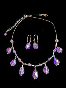 Amethyst & Leather Necklace Set - Sunroot Studio