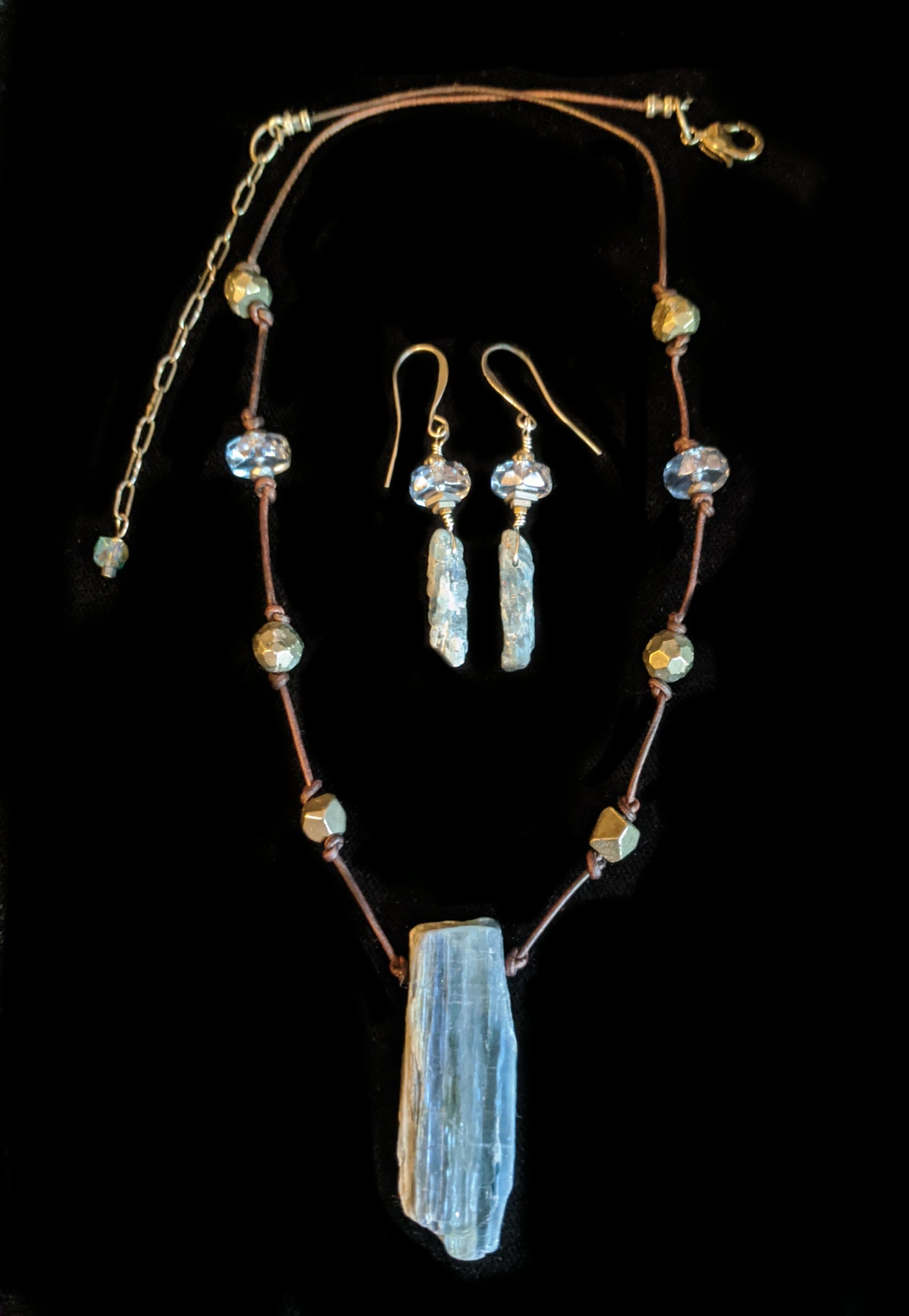 kyanite & pyrite necklace set - sunroot studio
