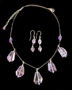 Amethyst & Quartz Leather Necklace Set - Sunroot Studio
